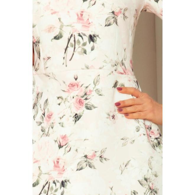 Dámske kvetované šaty s viazaním na rukávoch v broskyňovej farbe