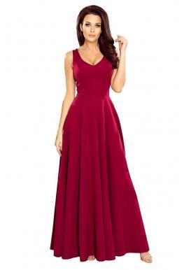 3d11228640432 Dlhé dámske šaty bordovej farby s výstrihom ...