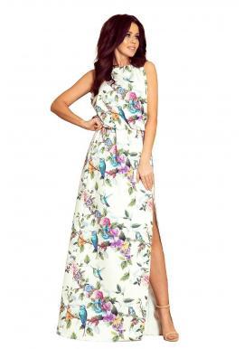 Biele dlhé šaty s farebnými kvetmi pre dámy
