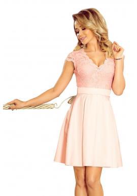 Dámske rozšírené šaty s čipkou v pastelovo ružovej farbe