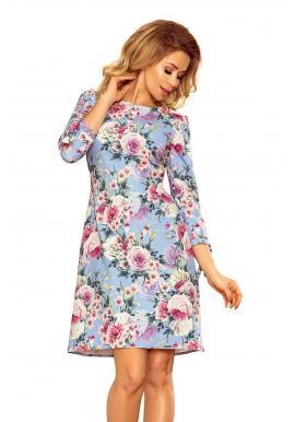 Svetlomodré kvetované šaty s viazaním pre dámy