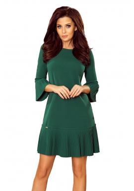 Pohodlné dámske šaty zelenej farby s plisovanými prvkami