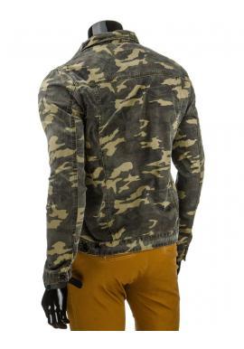 Pánska kaki riflová bunda v maskáčovom štýle