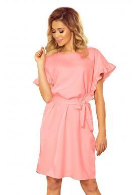 Dámske pohodlné šaty s volánmi na rukávoch v pastelovo ružovej farbe
