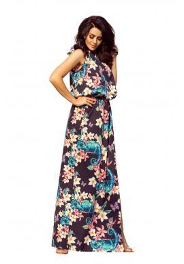 Čierne dlhé šaty s farebnými kvetmi pre dámy