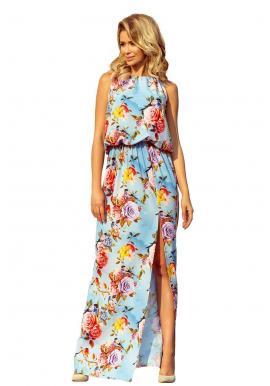 Dámske dlhé šaty s farebnými kvetmi v svetlomodrej farbe