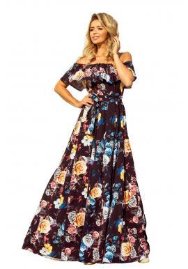 Dlhé dámske šaty čiernej farby s farebnou kvetovanou potlačou