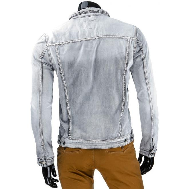 Riflová bunda svetlosivej farby pre pánov