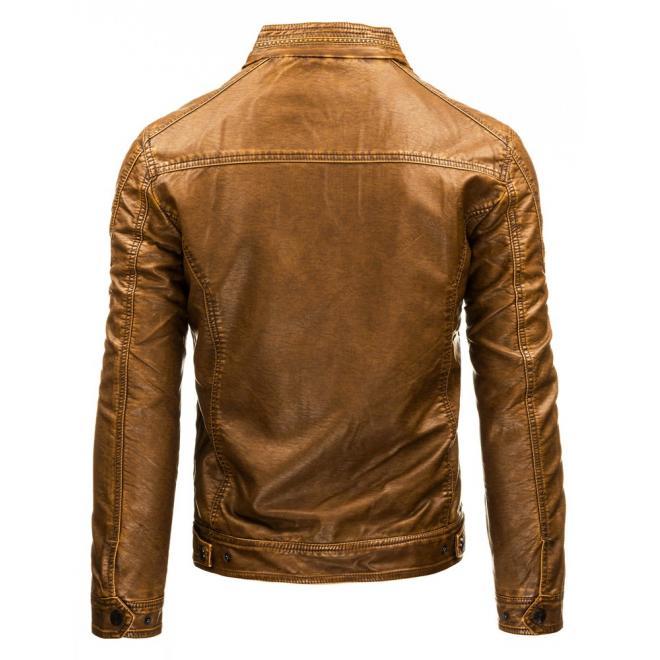 Hnedá pánska kožená bunda so zapínaním na zips