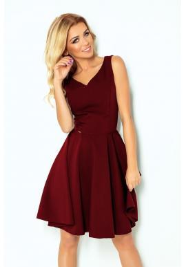 Šaty bordovej farby pre dámy so srdcovým výstrihom