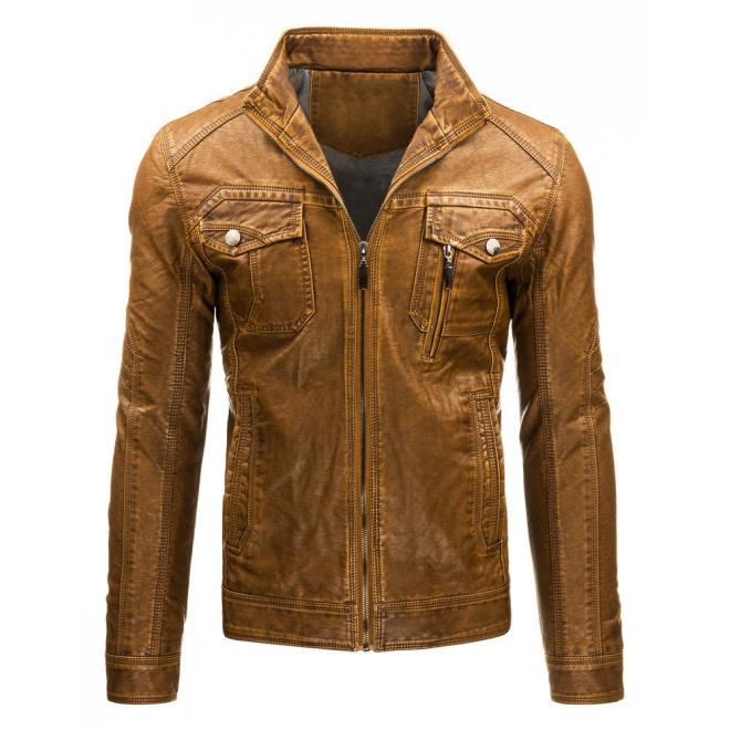 Pánska kožená bunda hnedej farby so zapínaním na zips