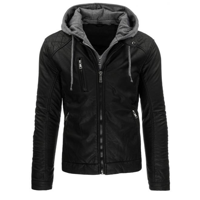 Prešívaná kožená bunda čiernej farby s kapucňou