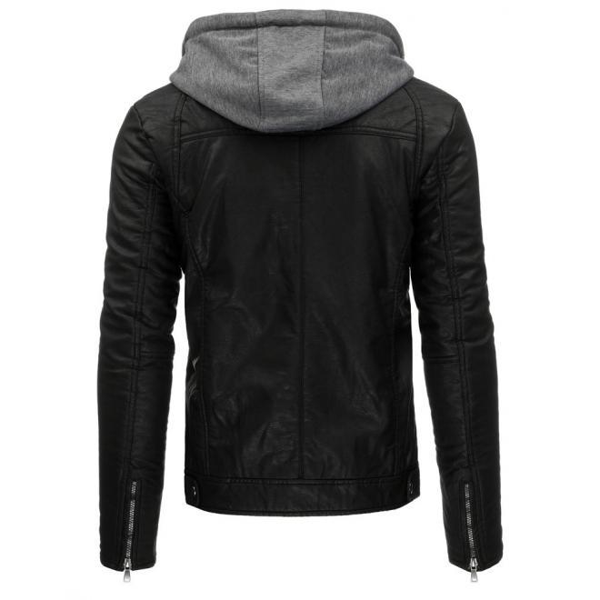 Čierna kožená bunda s kapucňou pre pánov