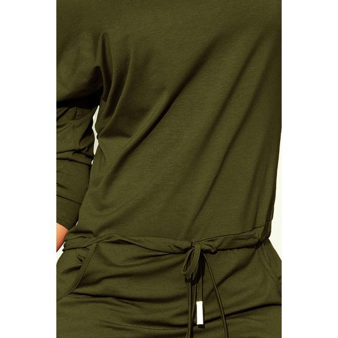 Dámske športové šaty s viazaním v kaki farbe