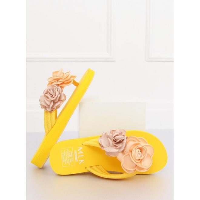 Žlté kvetované žabky na penovej podrážke pre dámy