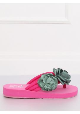 Dámske kvetované žabky na penovej podrážke v ružovej farbe
