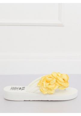 Biele kvetované žabky na penovej podrážke pre dámy