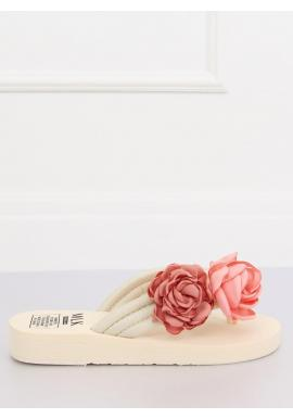 Kvetované dámske žabky béžovej farby na penovej podrážke