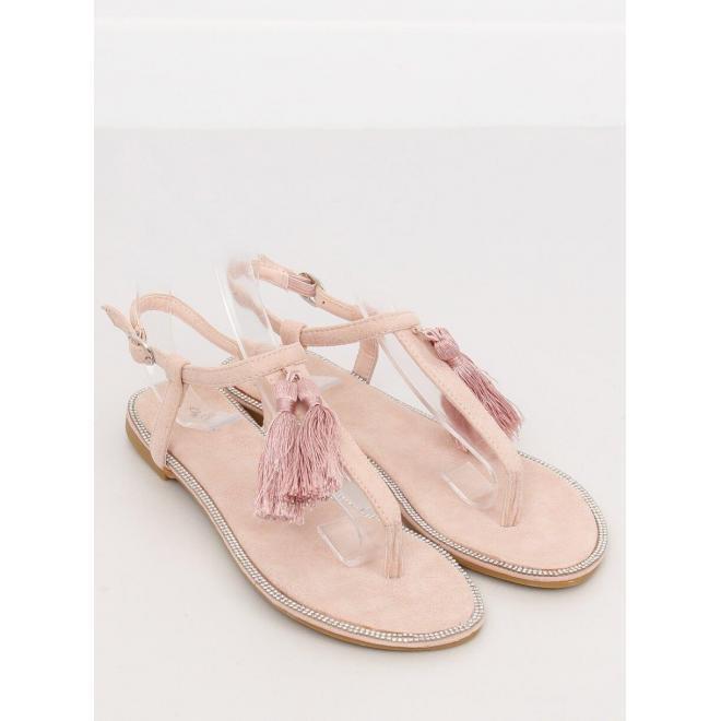 Dámske semišové sandále s ozdobnými strapcami v ružovej farbe