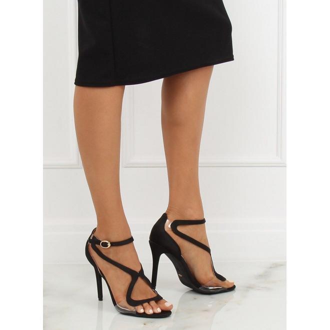 Dámske zmyselné sandále na štíhlom podpätku v čiernej farbe