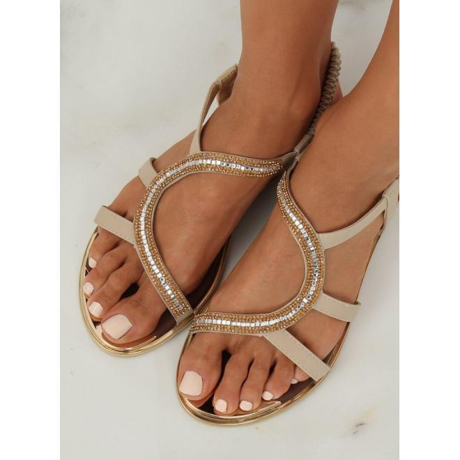 Asymetrické dámske sandále béžovej farby s kamienkami