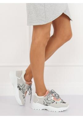 Štýlové dámske tenisky sivo-ružovej farby na vysokej podrážke
