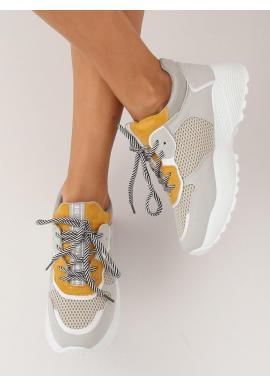 Sivo-žlté štýlové tenisky na vysokej podrážke pre dámy