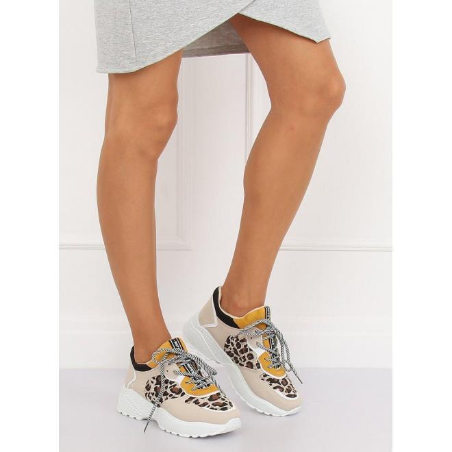 Dámske štýlové tenisky na vysokej podrážke v béžovej farbe