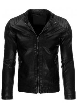 Kožená tmavomodrá bunda s prešívanými aplikáciami pre pánov