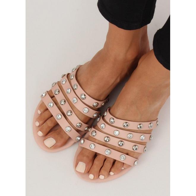 Dámske módne šľapky s kameňmi a vybíjaním v ružovej farbe