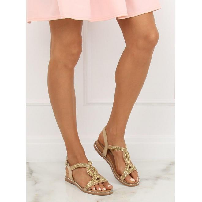 Dámske zdobené sandále s jemným vyvýšením v zlatej farbe