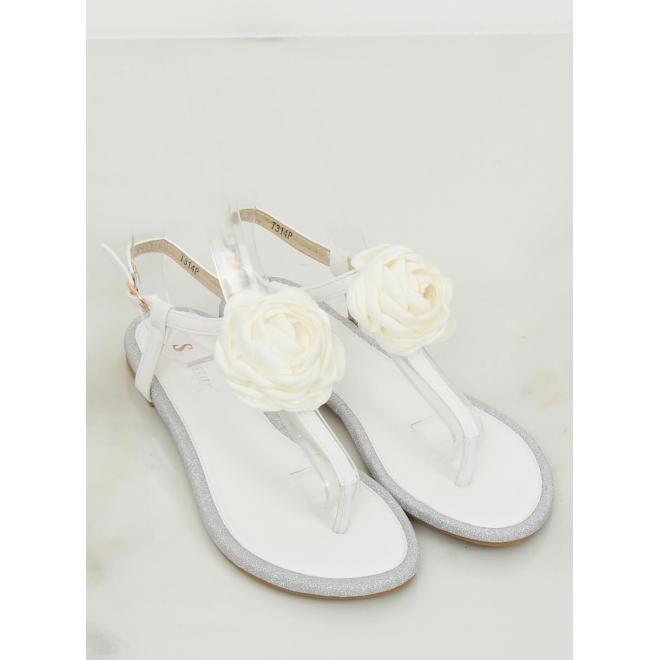 Kožené dámske sandále bielej farby s kvetom