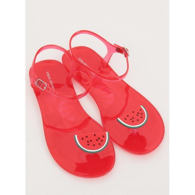 Červené módne sandále s ozdobným ovocím pre dámy