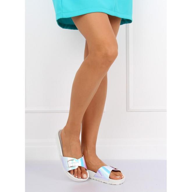 Dámske módne šľapky s holografickým pásom v modrej farbe