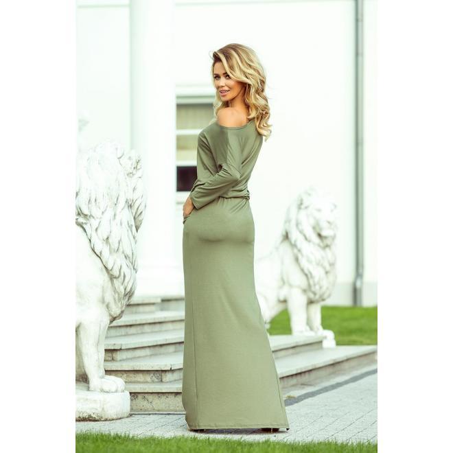 Dlhé dámske šaty kaki farby s motívom listov