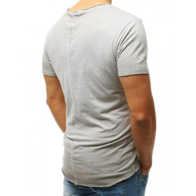Štýlové pánske tričko tmavosivej farby s dierami