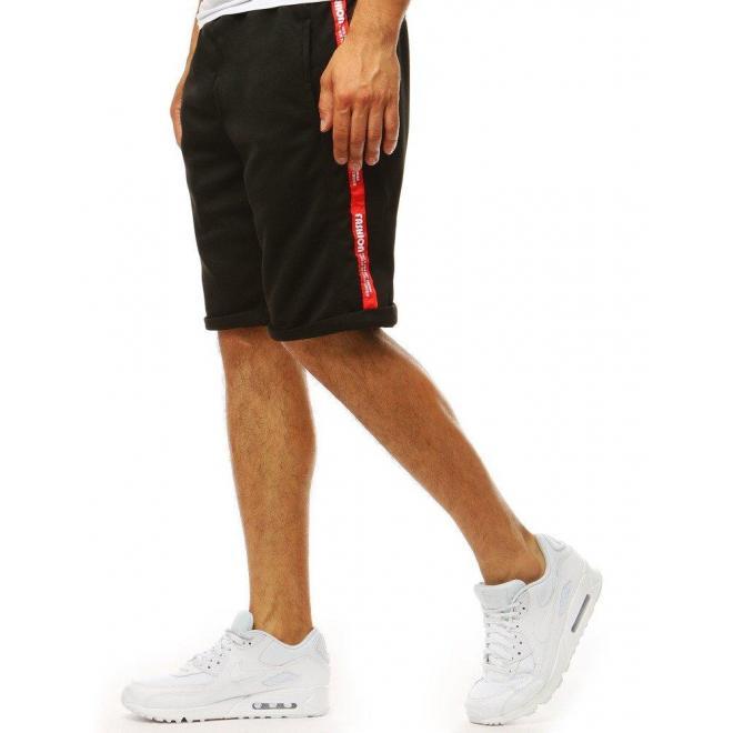 Pánske teplákové kraťasy s pásmi na bokoch v čiernej farbe