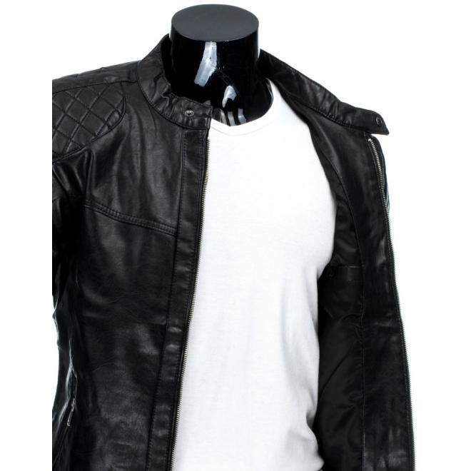 Kožená bunda hnedej farby s prešívanými aplikáciami
