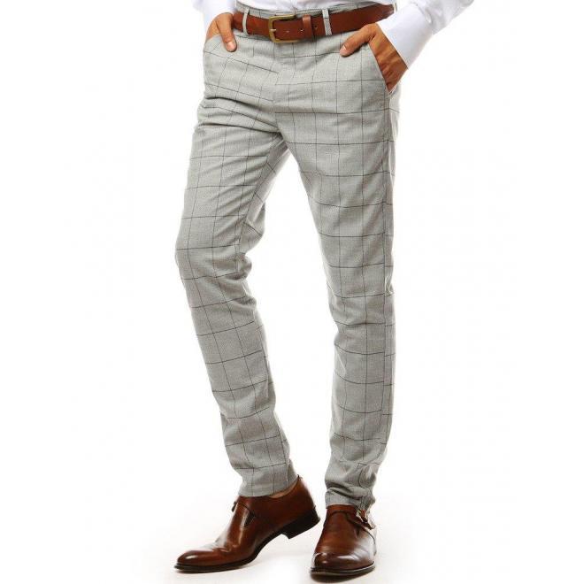 Svetlosivé kockované nohavice pre pánov