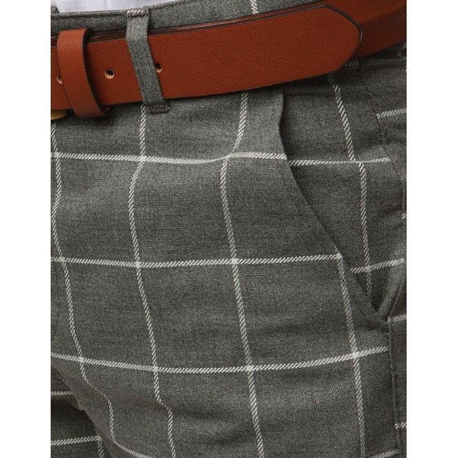 Kockované pánske nohavice tmavosivej farby