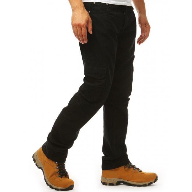 Pánske športové nohavice vo vojenskom štýle v čiernej farbe