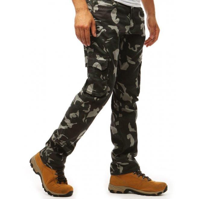 Máskáčové pánske nohavice čiernej farby vo vojenskom štýle
