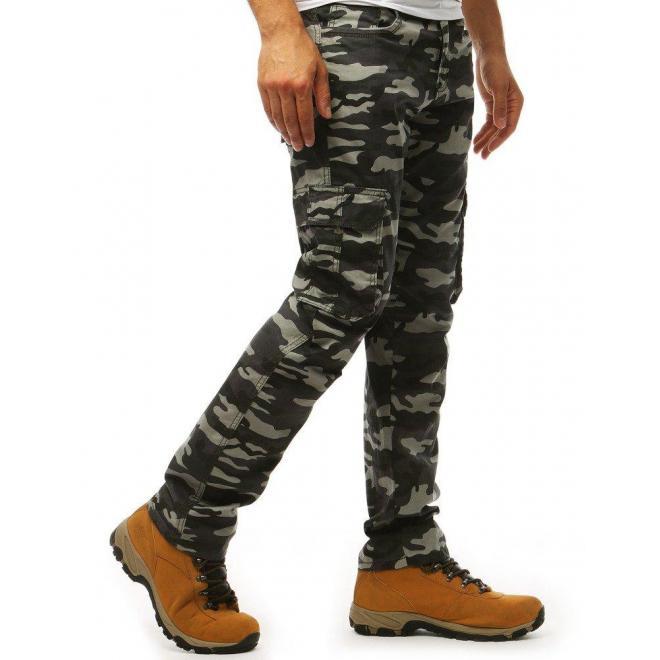 Tmavosivé máskáčové nohavice vo vojenskom štýle pre pánov