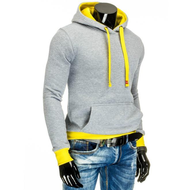 Svetlosivá mikina pre pánov  s klokaním vreckom  a žltými prvkami