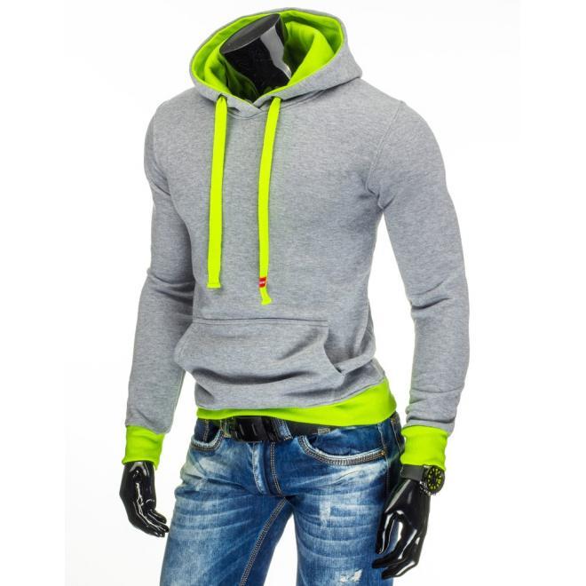 Mikina pre pánov s klokaním vreckom v svetlosivej farbami so zelenými prvkami