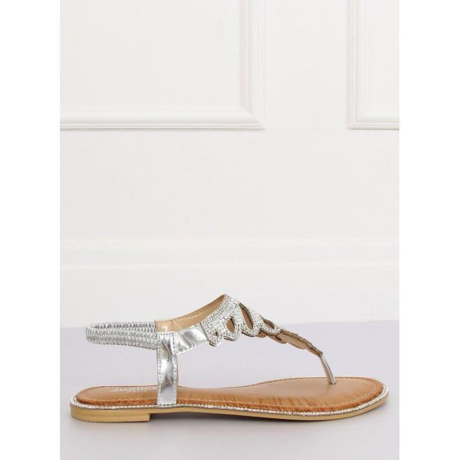 Strieborné štýlové sandále s kamienkami pre dámy