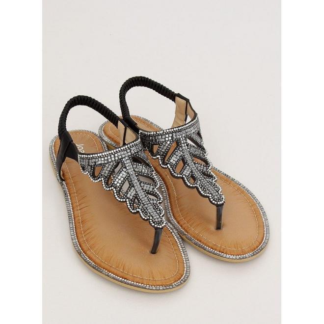 Dámske štýlové sandále s kamienkami v čiernej farbe