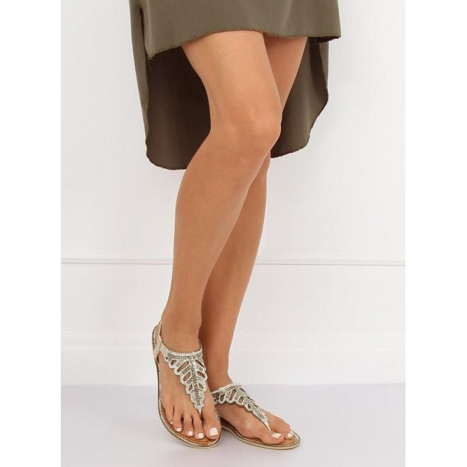 Štýlové dámske sandále zlatej farby s kamienkami