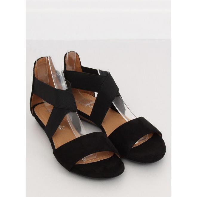 Čierne semišové sandále s elastickými pásmi pre dámy