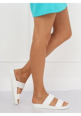 Dámske módne šľapky na gumenej podrážke v bielej farbe